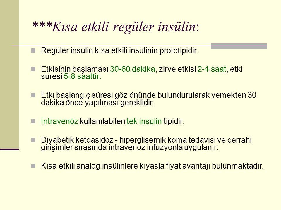***Kısa etkili regüler insülin: Regüler insülin kısa etkili insülinin prototipidir. Etkisinin başlaması 30-60 dakika, zirve etkisi 2-4 saat, etki süre