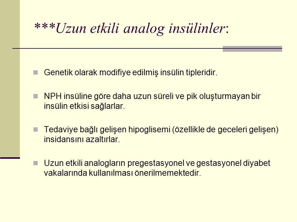 ***Uzun etkili analog insülinler: Genetik olarak modifiye edilmiş insülin tipleridir. NPH insüline göre daha uzun süreli ve pik oluşturmayan bir insül