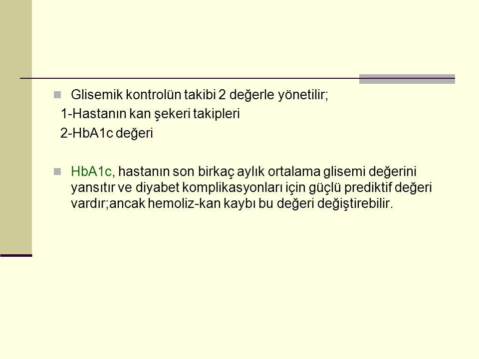 Glisemik kontrolün takibi 2 değerle yönetilir; 1-Hastanın kan şekeri takipleri 2-HbA1c değeri HbA1c, hastanın son birkaç aylık ortalama glisemi değeri