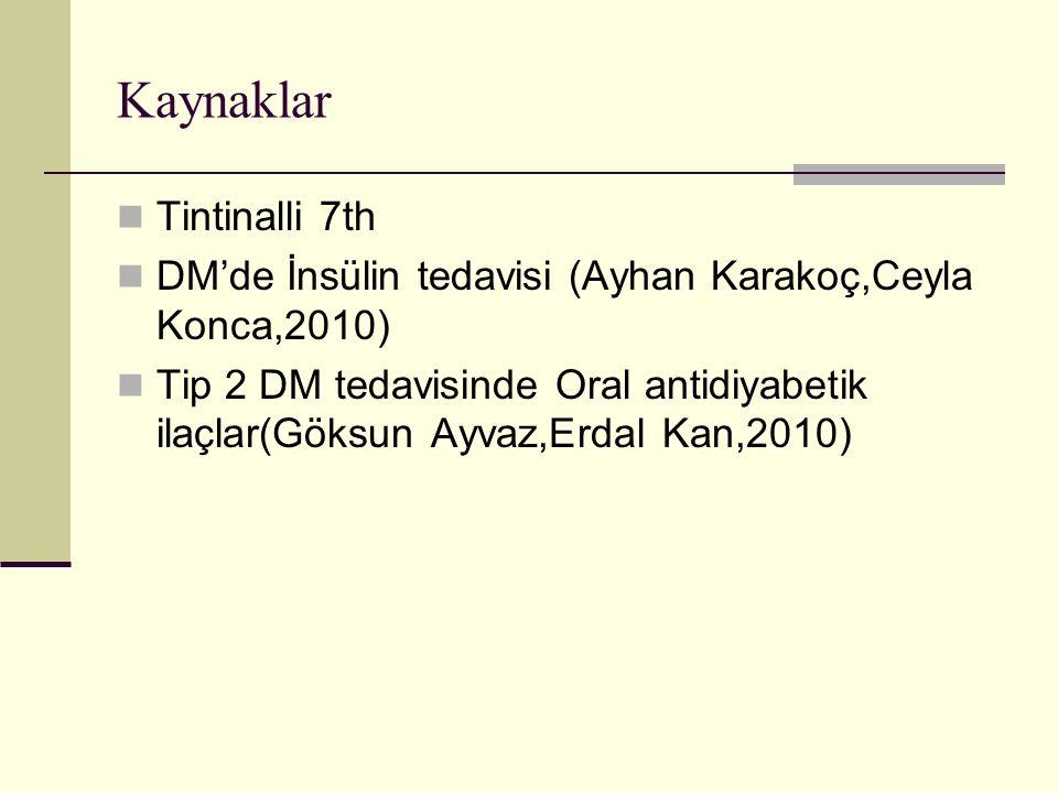 Kaynaklar Tintinalli 7th DM'de İnsülin tedavisi (Ayhan Karakoç,Ceyla Konca,2010) Tip 2 DM tedavisinde Oral antidiyabetik ilaçlar(Göksun Ayvaz,Erdal Ka