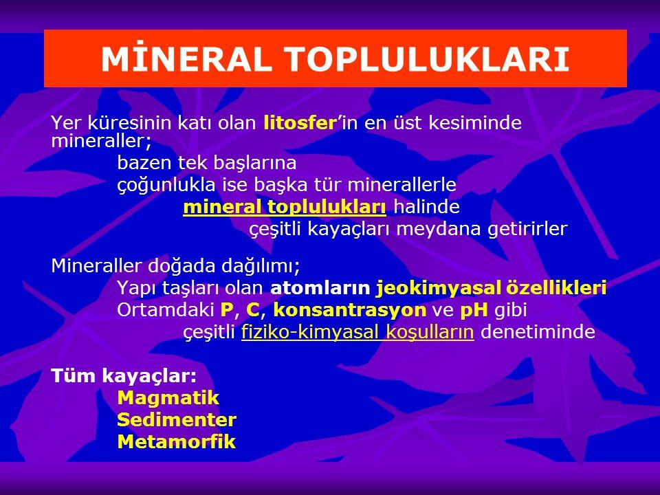 MİNERAL TOPLULUKLARI Yer küresinin katı olan litosfer'in en üst kesiminde mineraller; bazen tek başlarına çoğunlukla ise başka tür minerallerle minera