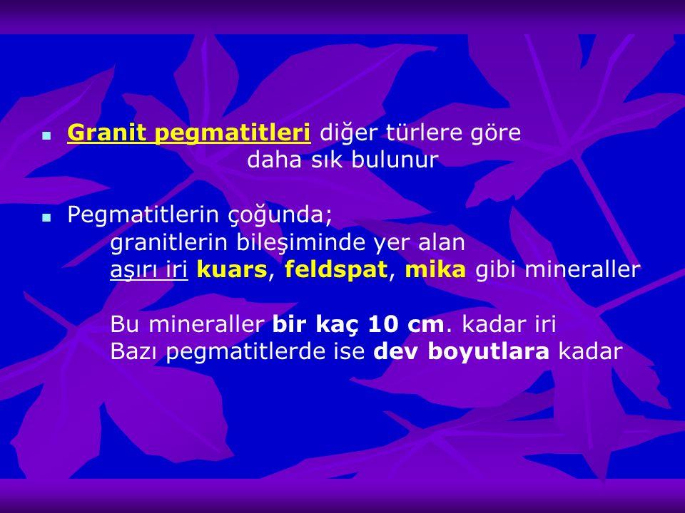 Granit pegmatitleri diğer türlere göre daha sık bulunur Pegmatitlerin çoğunda; granitlerin bileşiminde yer alan aşırı iri kuars, feldspat, mika gibi m