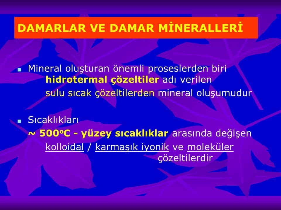 DAMARLAR VE DAMAR MİNERALLERİ Mineral oluşturan önemli proseslerden biri hidrotermal çözeltiler adı verilen sulu sıcak çözeltilerden mineral oluşumudu
