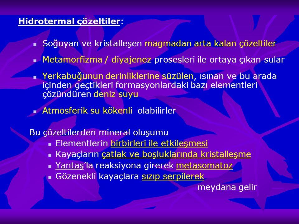 Hidrotermal çözeltiler: Soğuyan ve kristalleşen magmadan arta kalan çözeltiler Metamorfizma / diyajenez prosesleri ile ortaya çıkan sular Yerkabuğunun