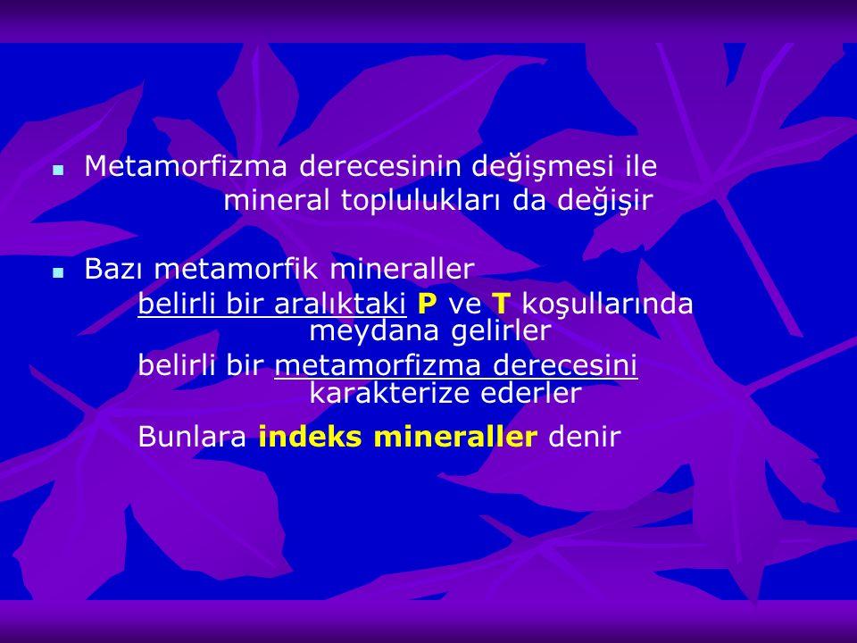 Metamorfizma derecesinin değişmesi ile mineral toplulukları da değişir Bazı metamorfik mineraller belirli bir aralıktaki P ve T koşullarında meydana g