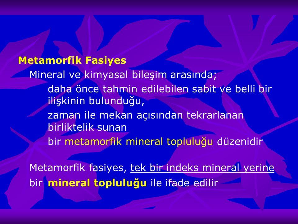 Metamorfik Fasiyes Mineral ve kimyasal bileşim arasında; daha önce tahmin edilebilen sabit ve belli bir ilişkinin bulunduğu, zaman ile mekan açısından