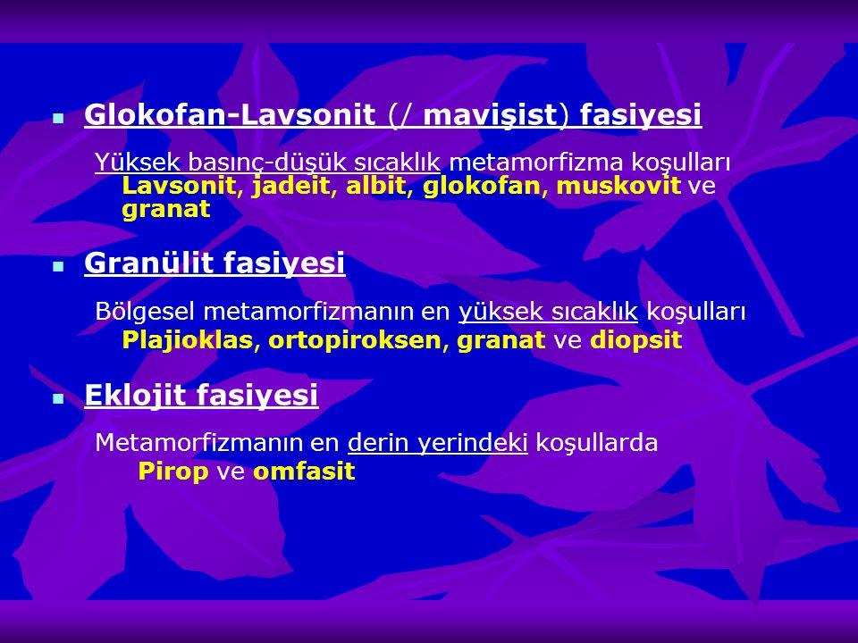Glokofan-Lavsonit (/ mavişist) fasiyesi Yüksek basınç-düşük sıcaklık metamorfizma koşulları Lavsonit, jadeit, albit, glokofan, muskovit ve granat Gran