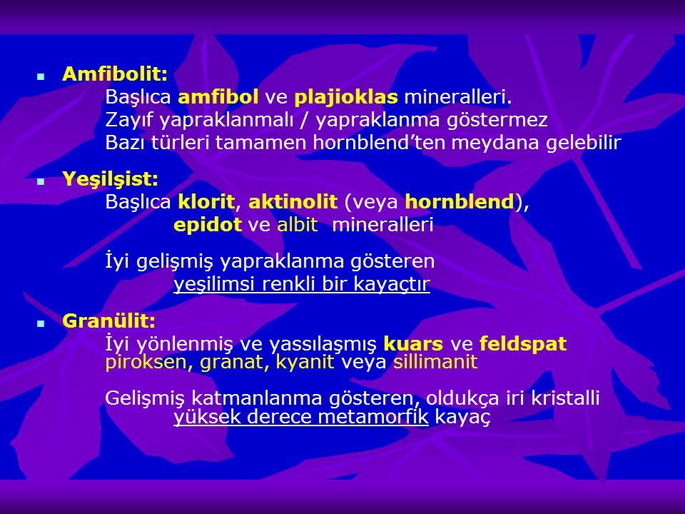 Amfibolit: Başlıca amfibol ve plajioklas mineralleri. Zayıf yapraklanmalı / yapraklanma göstermez Bazı türleri tamamen hornblend'ten meydana gelebilir