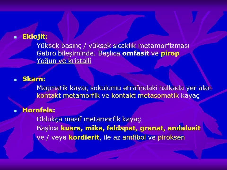 Eklojit: Yüksek basınç / yüksek sıcaklık metamorfizması Gabro bileşiminde. Başlıca omfasit ve pirop Yoğun ve kristalli Skarn: Magmatik kayaç sokulumu