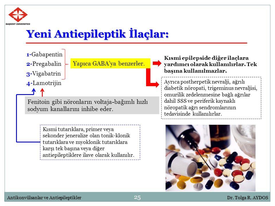 25 Antikonvülsanlar ve AntiepileptiklerDr. Tolga R. AYDOS Yeni Antiepileptik İlaçlar: 1-Gabapentin 2-Pregabalin 3-Vigabatrin 4-Lamotrijin Yapıca GABA'