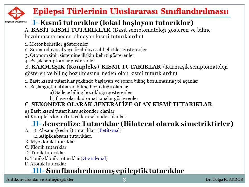 Epilepsi Türlerinin Uluslararası Sınıflandırılması: I- Kısmi tutarıklar (lokal başlayan tutarıklar) 3 Antikonvülsanlar ve AntiepileptiklerDr. Tolga R.