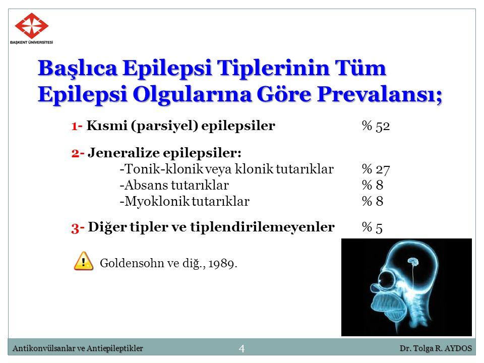 Başlıca Epilepsi Tiplerinin Tüm Epilepsi Olgularına Göre Prevalansı; 1- Kısmi (parsiyel) epilepsiler% 52 2- Jeneralize epilepsiler: -Tonik-klonik veya
