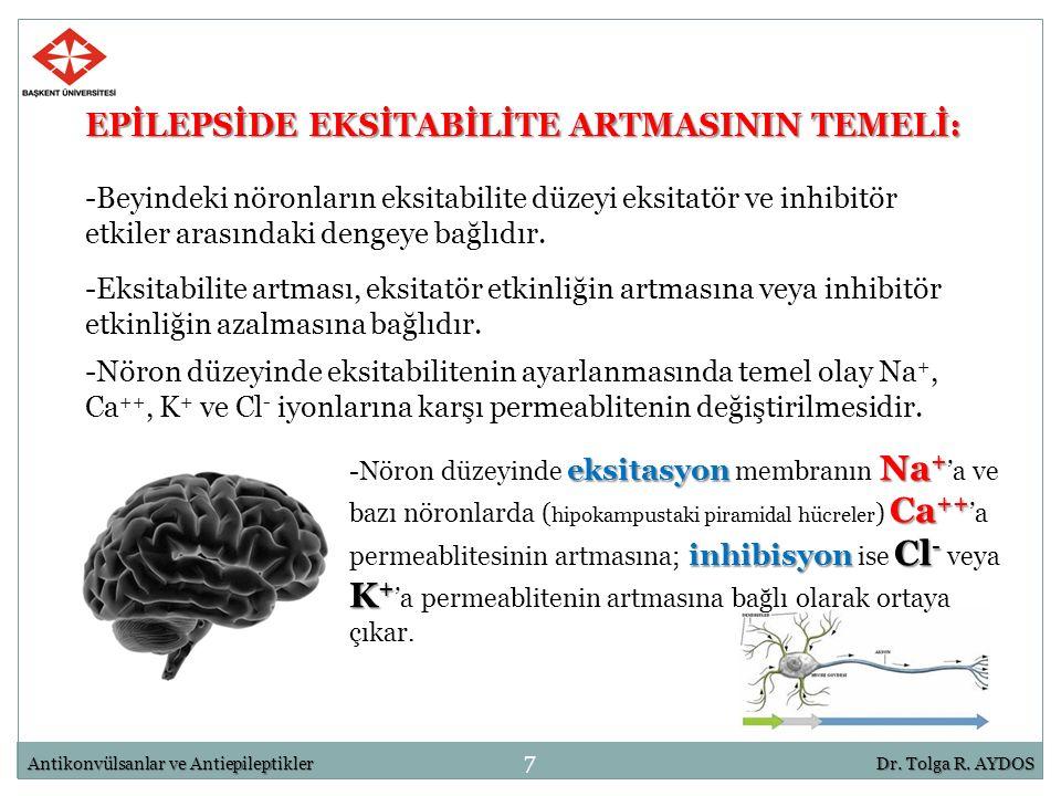 EPİLEPSİDE EKSİTABİLİTE ARTMASININ TEMELİ: -Beyindeki nöronların eksitabilite düzeyi eksitatör ve inhibitör etkiler arasındaki dengeye bağlıdır. 7 Ant