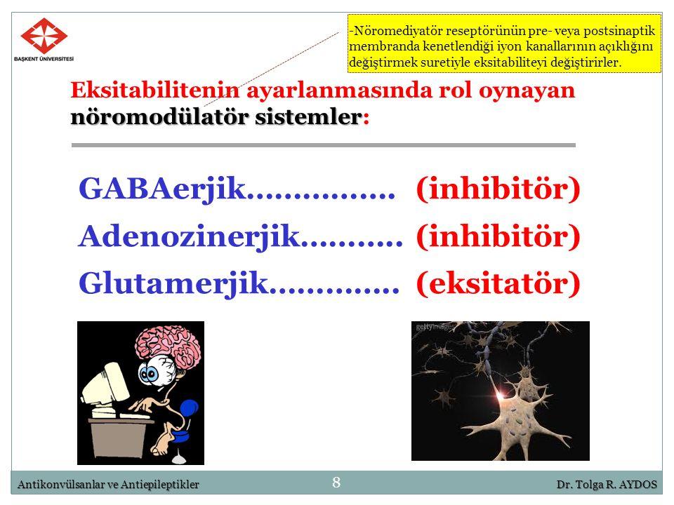 nöromodülatör sistemler Eksitabilitenin ayarlanmasında rol oynayan nöromodülatör sistemler: 8 GABAerjik…………….(inhibitör) Adenozinerjik………..(inhibitör)