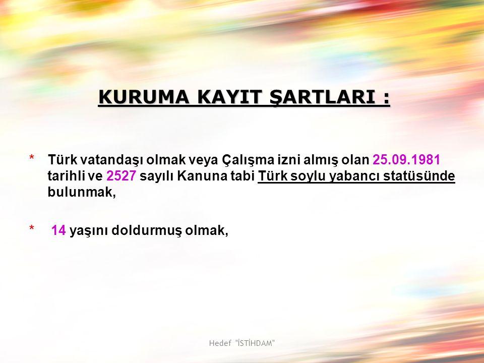 Hedef İSTİHDAM KURUMA KAYIT ŞARTLARI : *Türk vatandaşı olmak veya Çalışma izni almış olan 25.09.1981 tarihli ve 2527 sayılı Kanuna tabi Türk soylu yabancı statüsünde bulunmak, * 14 yaşını doldurmuş olmak,
