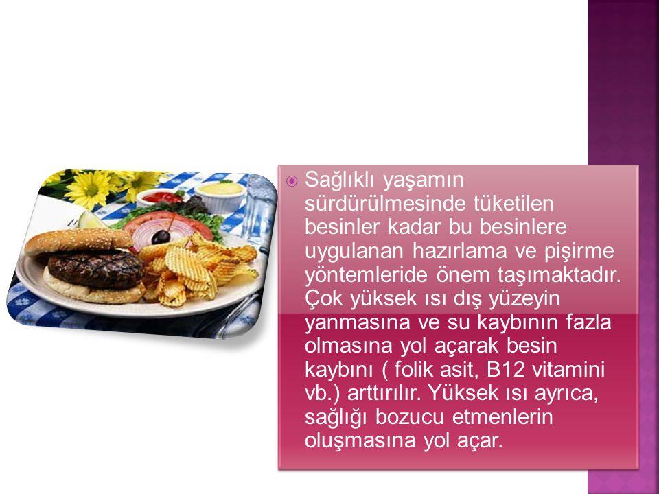  Sağlıklı yaşamın sürdürülmesinde tüketilen besinler kadar bu besinlere uygulanan hazırlama ve pişirme yöntemleride önem taşımaktadır. Çok yüksek ısı