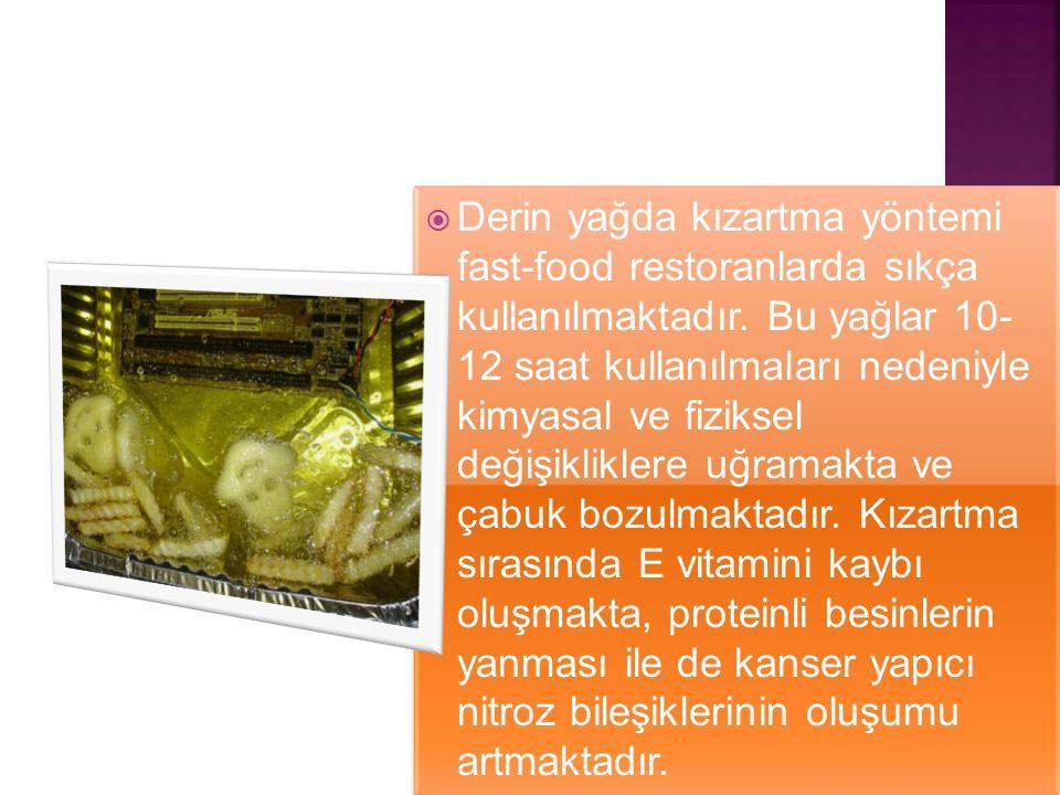  Derin yağda kızartma yöntemi fast-food restoranlarda sıkça kullanılmaktadır. Bu yağlar 10- 12 saat kullanılmaları nedeniyle kimyasal ve fiziksel değ