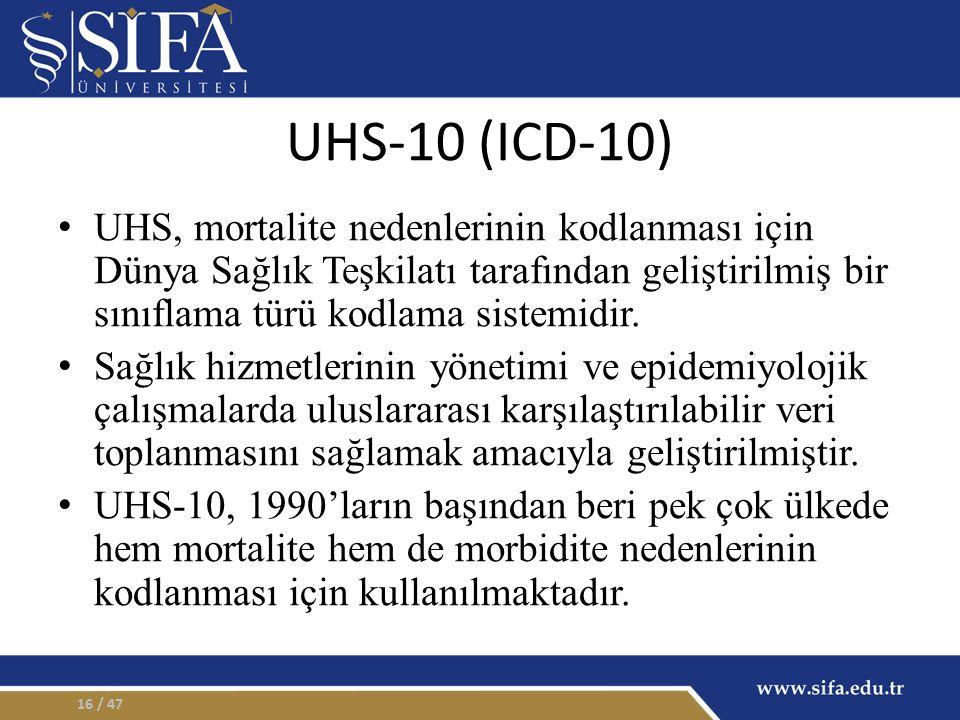 UHS-10 (ICD-10) UHS, mortalite nedenlerinin kodlanması için Dünya Sağlık Teşkilatı tarafından geliştirilmiş bir sınıflama türü kodlama sistemidir. Sağ