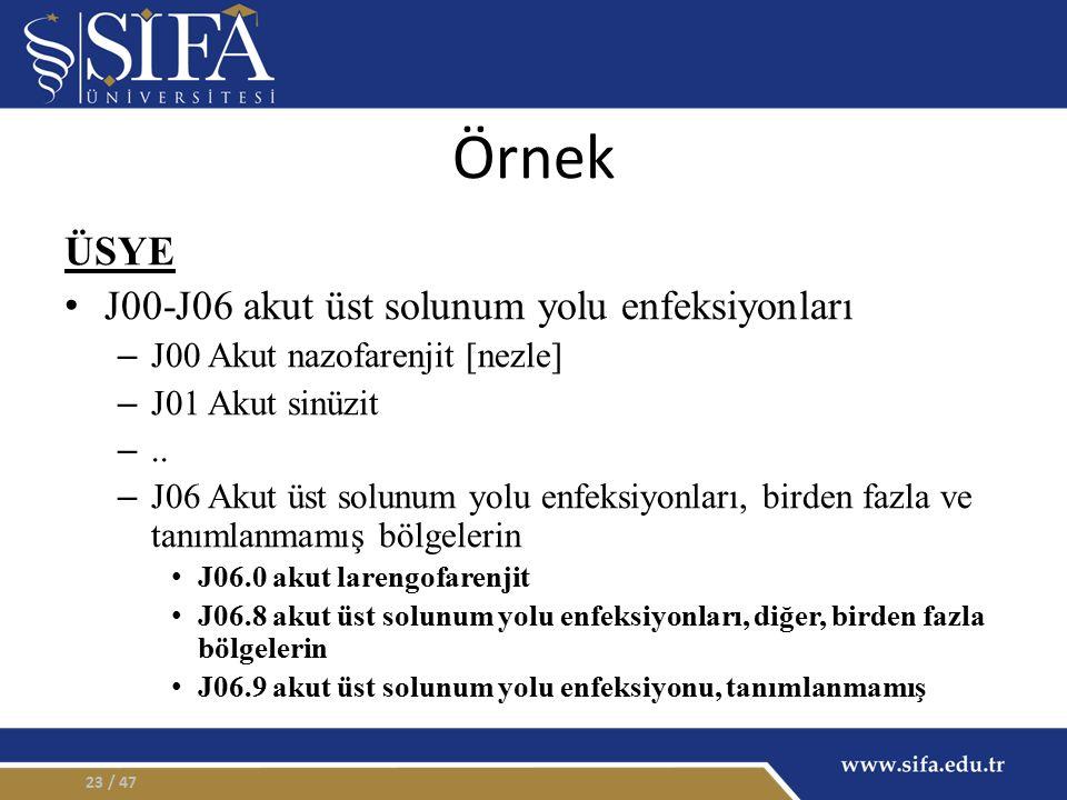 Örnek ÜSYE J00-J06 akut üst solunum yolu enfeksiyonları – J00 Akut nazofarenjit [nezle] – J01 Akut sinüzit –.. – J06 Akut üst solunum yolu enfeksiyonl