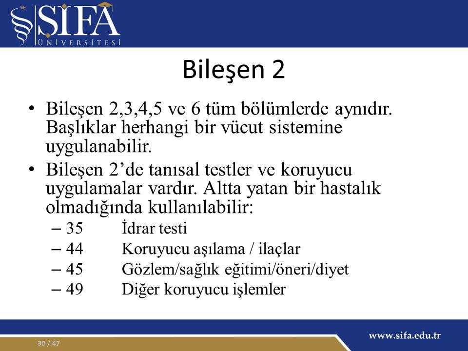 Bileşen 2 Bileşen 2,3,4,5 ve 6 tüm bölümlerde aynıdır.