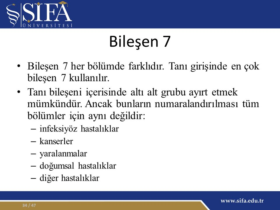 Bileşen 7 Bileşen 7 her bölümde farklıdır.Tanı girişinde en çok bileşen 7 kullanılır.