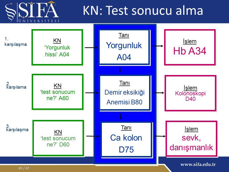 / 4745 KN: Test sonucu alma İşlem Hb A34 İşlem Hb A34 İşlem Kolonoskopi D40 İşlem Kolonoskopi D40 İşlem sevk, danışmanlık İşlem sevk, danışmanlık KN 'Yorgunluk hissi' A04 KN 'Yorgunluk hissi' A04 Tanı Yorgunluk A04 Tanı Yorgunluk A04 KN 'test sonucum ne?' A60 KN 'test sonucum ne?' A60 Tanı Demir eksikiği Anemisi B80 Tanı Demir eksikiği Anemisi B80 Tanı Ca kolon D75 Tanı Ca kolon D75 KN 'test sonucum ne?' D60 KN 'test sonucum ne?' D60 1.