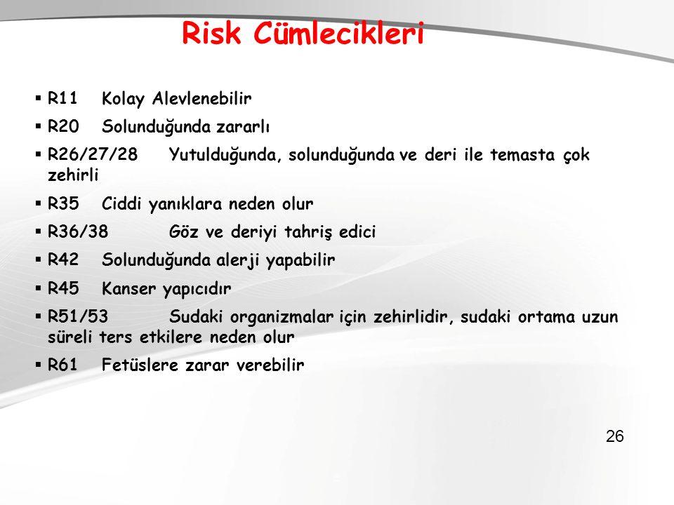  26 Risk Cümlecikleri  R11Kolay Alevlenebilir  R20Solunduğunda zararlı  R26/27/28Yutulduğunda, solunduğunda ve deri ile temasta çok zehirli  R35C
