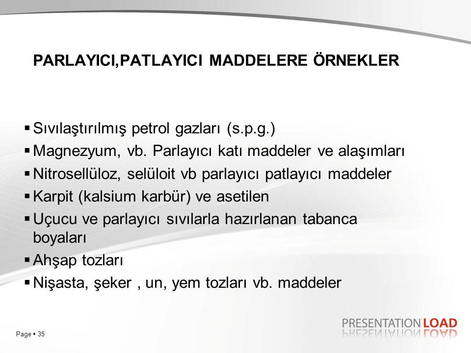 Page  35 PARLAYICI,PATLAYICI MADDELERE ÖRNEKLER  Sıvılaştırılmış petrol gazları (s.p.g.)  Magnezyum, vb. Parlayıcı katı maddeler ve alaşımları  Ni