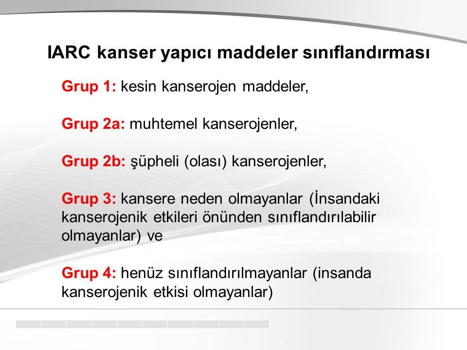 Grup 1: kesin kanserojen maddeler, Grup 2a: muhtemel kanserojenler, Grup 2b: şüpheli (olası) kanserojenler, Grup 3: kansere neden olmayanlar (İnsandak