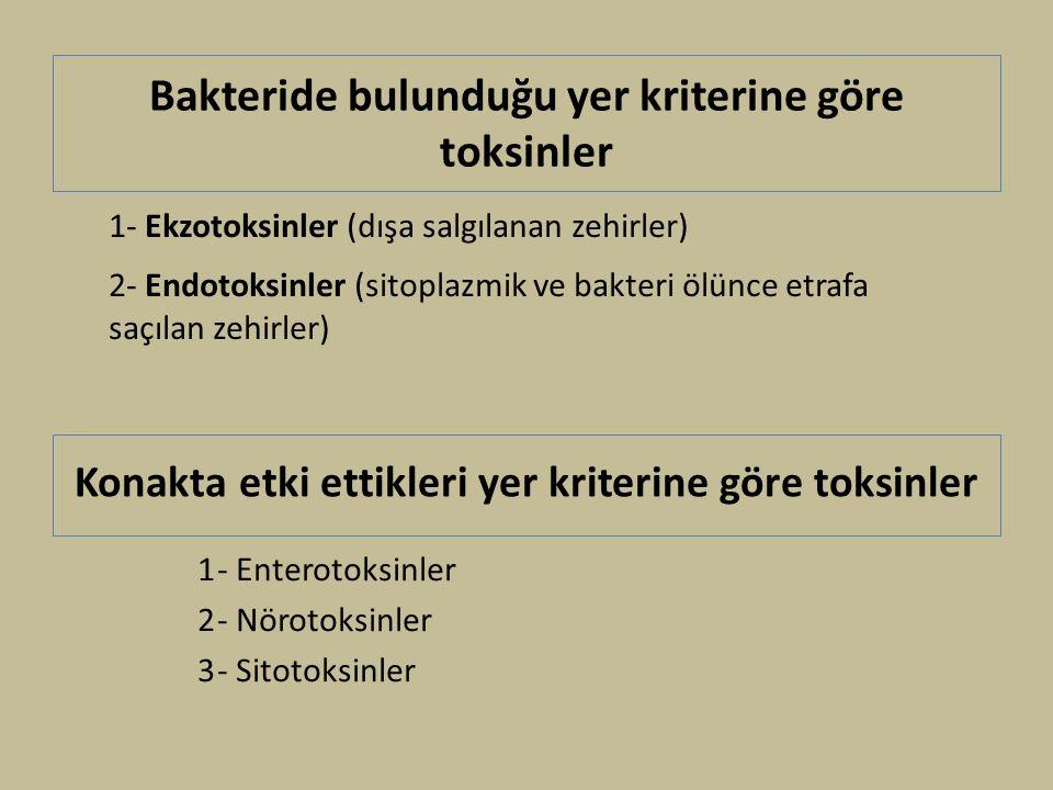 Bakteride bulunduğu yer kriterine göre toksinler 1- Enterotoksinler 2- Nörotoksinler 3- Sitotoksinler 1- Ekzotoksinler (dışa salgılanan zehirler) 2- Endotoksinler (sitoplazmik ve bakteri ölünce etrafa saçılan zehirler) Konakta etki ettikleri yer kriterine göre toksinler