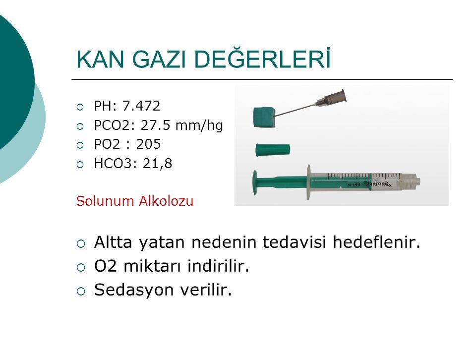 KAN GAZI DEĞERLERİ  PH: 7.472  PCO2: 27.5 mm/hg  PO2 : 205  HCO3: 21,8 Solunum Alkolozu  Altta yatan nedenin tedavisi hedeflenir.  O2 miktarı in