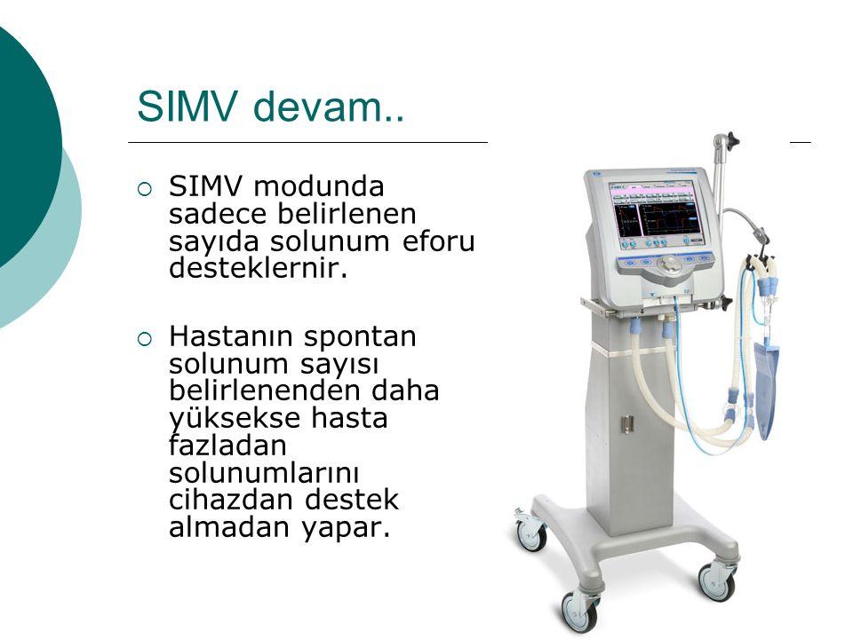 SIMV devam..  SIMV modunda sadece belirlenen sayıda solunum eforu desteklernir.  Hastanın spontan solunum sayısı belirlenenden daha yüksekse hasta f