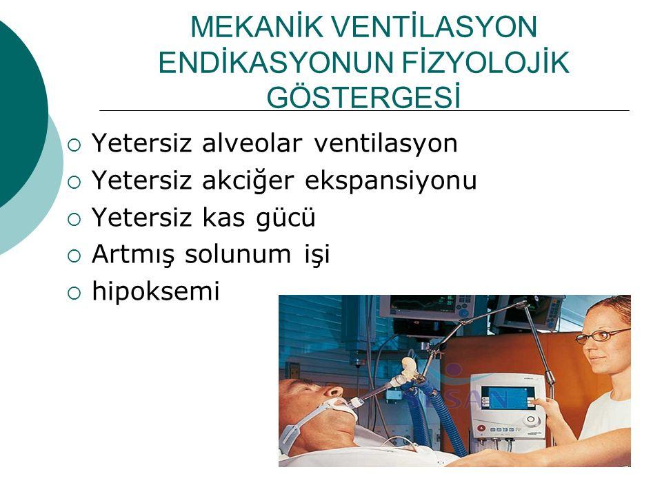 MEKANİK VENTİLASYON ENDİKASYONUN FİZYOLOJİK GÖSTERGESİ  Yetersiz alveolar ventilasyon  Yetersiz akciğer ekspansiyonu  Yetersiz kas gücü  Artmış so