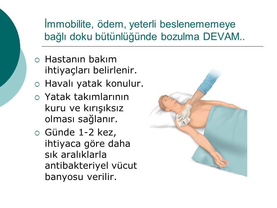 İmmobilite, ödem, yeterli beslenememeye bağlı doku bütünlüğünde bozulma DEVAM..  Hastanın bakım ihtiyaçları belirlenir.  Havalı yatak konulur.  Yat