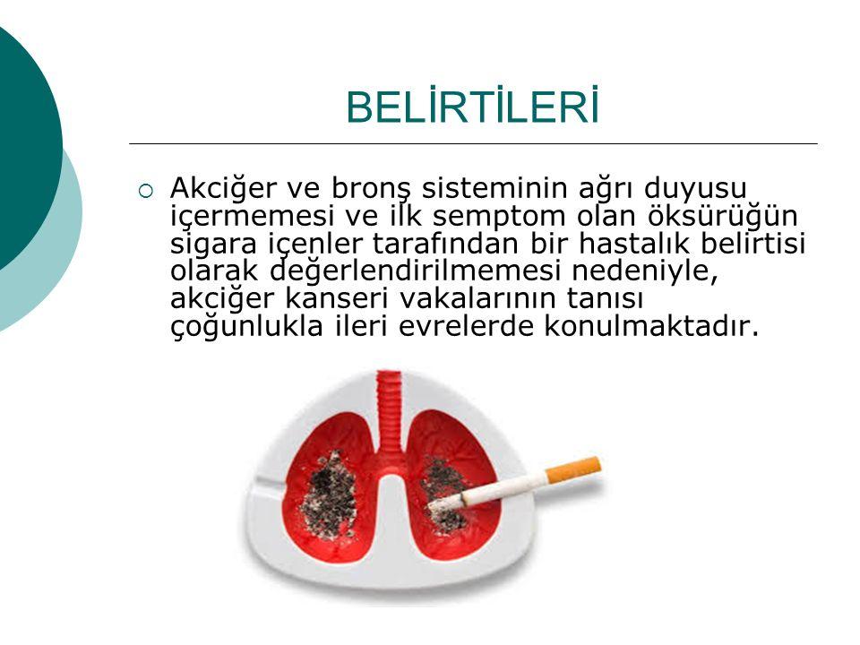 BELİRTİLERİ  Akciğer ve bronş sisteminin ağrı duyusu içermemesi ve ilk semptom olan öksürüğün sigara içenler tarafından bir hastalık belirtisi olarak