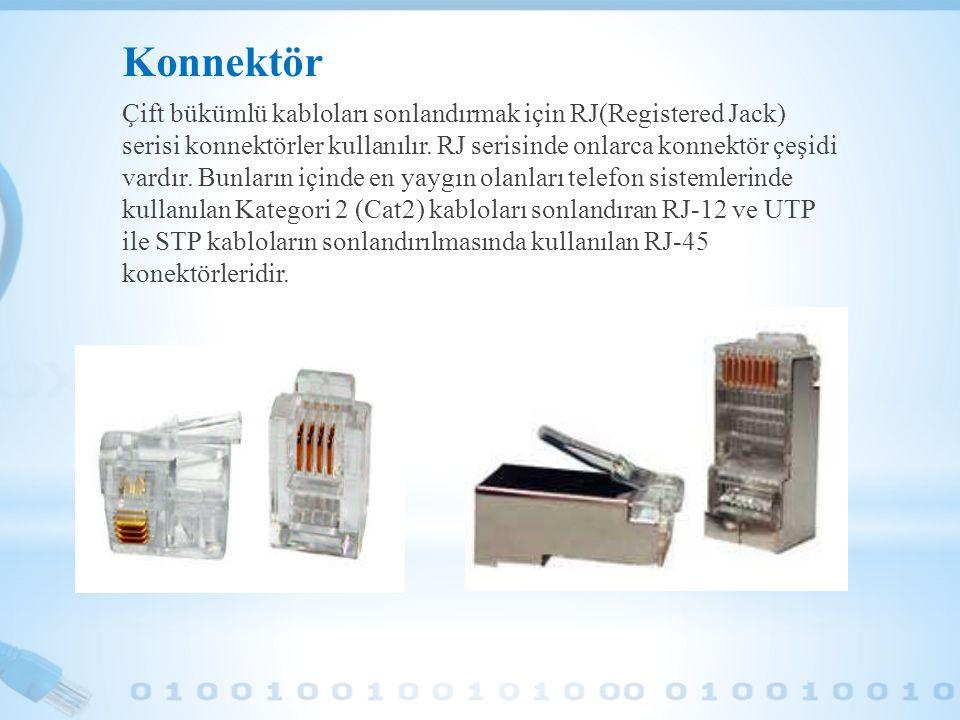 Konnektör Çift bükümlü kabloları sonlandırmak için RJ(Registered Jack) serisi konnektörler kullanılır. RJ serisinde onlarca konnektör çeşidi vardır. B