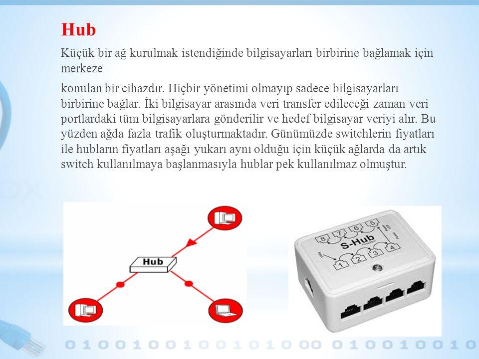 Hub Küçük bir ağ kurulmak istendiğinde bilgisayarları birbirine bağlamak için merkeze konulan bir cihazdır. Hiçbir yönetimi olmayıp sadece bilgisayarl
