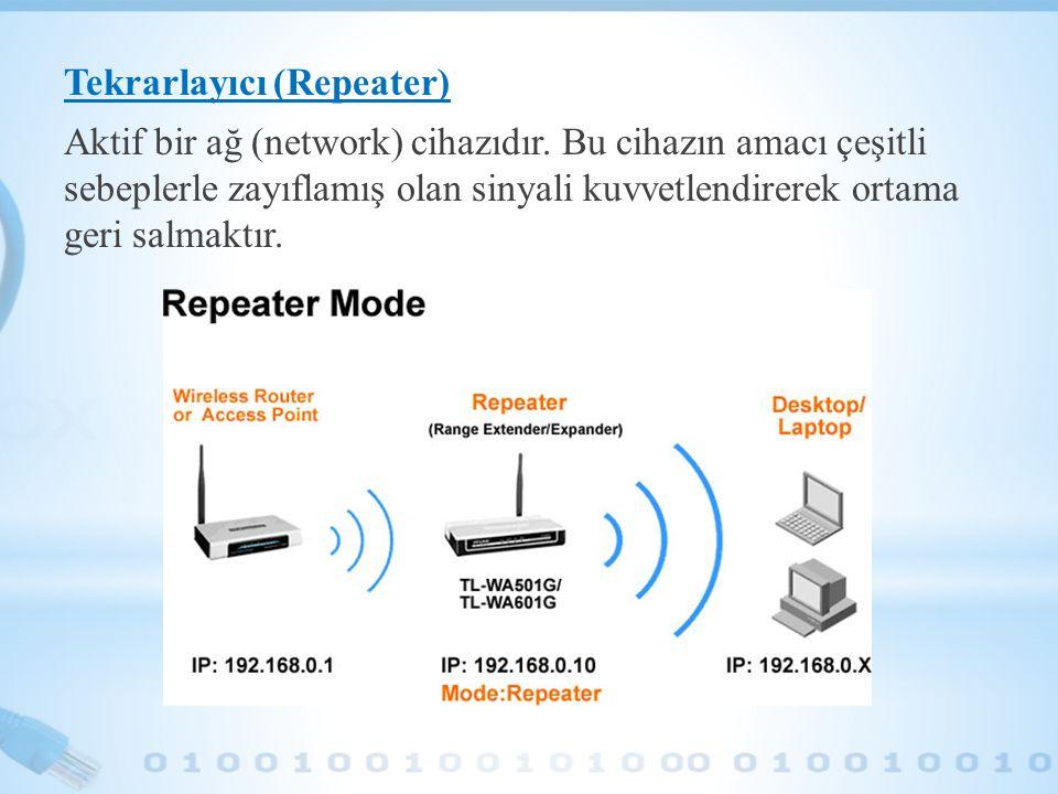 Tekrarlayıcı (Repeater) Aktif bir ağ (network) cihazıdır. Bu cihazın amacı çeşitli sebeplerle zayıflamış olan sinyali kuvvetlendirerek ortama geri sal