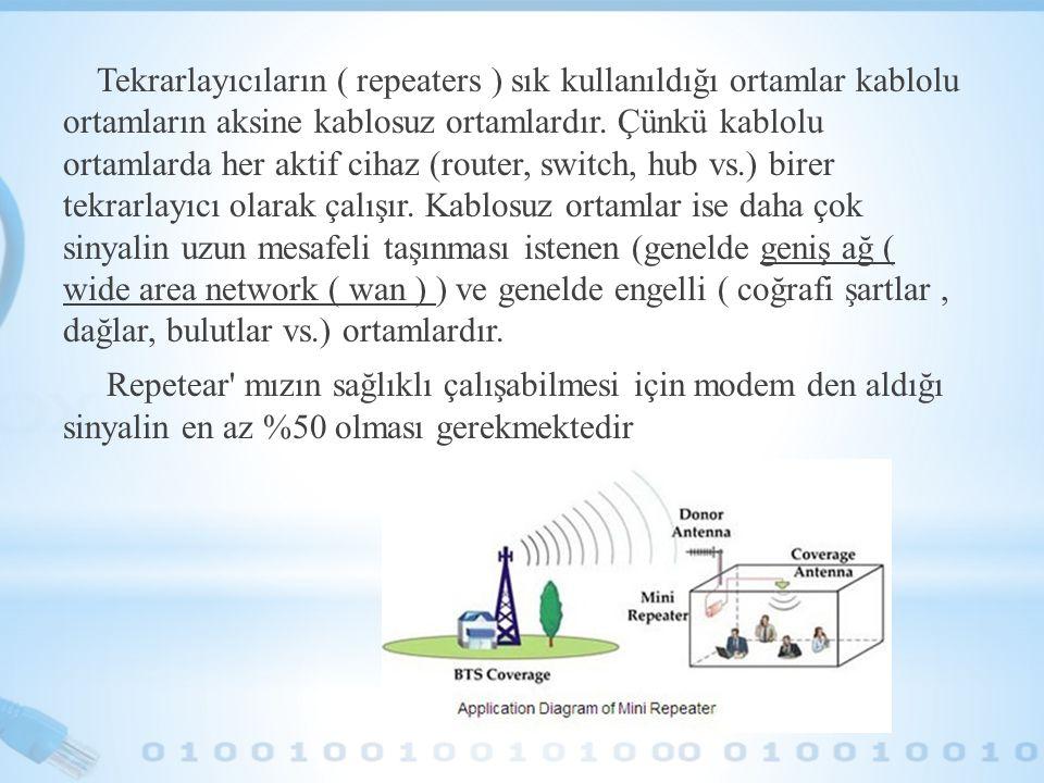 Tekrarlayıcıların ( repeaters ) sık kullanıldığı ortamlar kablolu ortamların aksine kablosuz ortamlardır. Çünkü kablolu ortamlarda her aktif cihaz (ro