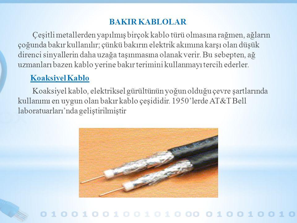 BAKIR KABLOLAR Çeşitli metallerden yapılmış birçok kablo türü olmasına rağmen, ağların çoğunda bakır kullanılır; çünkü bakırın elektrik akımına karşı