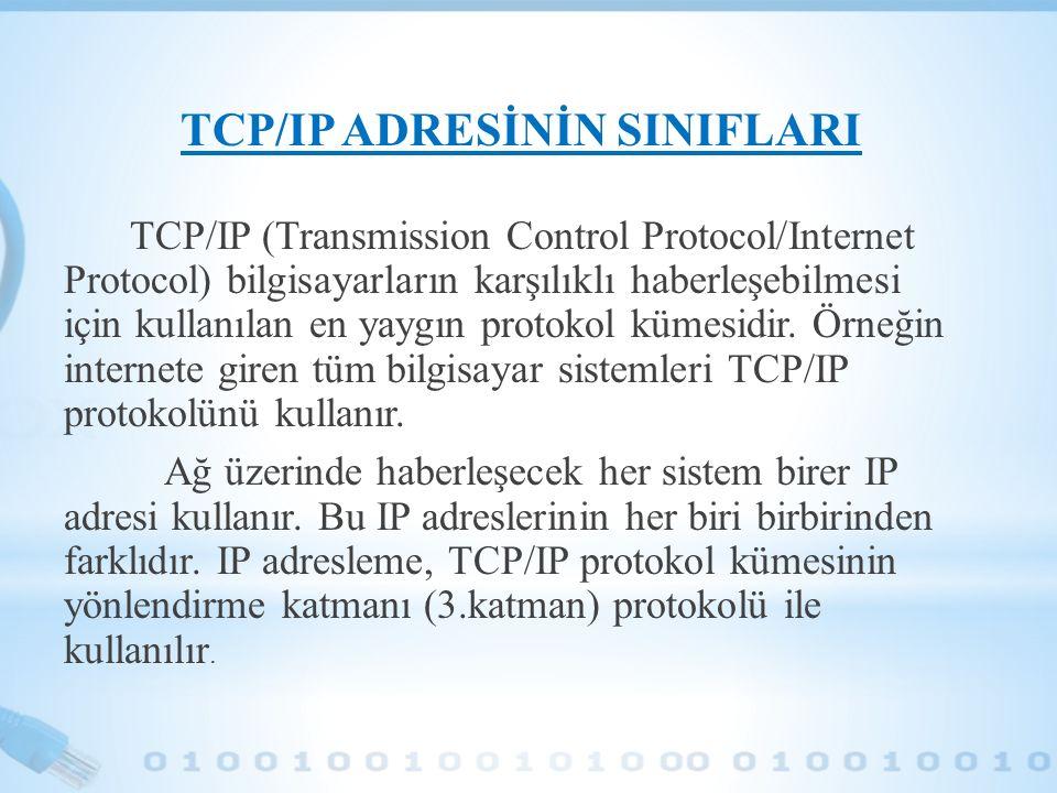 TCP/IP ADRESİNİN SINIFLARI TCP/IP (Transmission Control Protocol/Internet Protocol) bilgisayarların karşılıklı haberleşebilmesi için kullanılan en yay