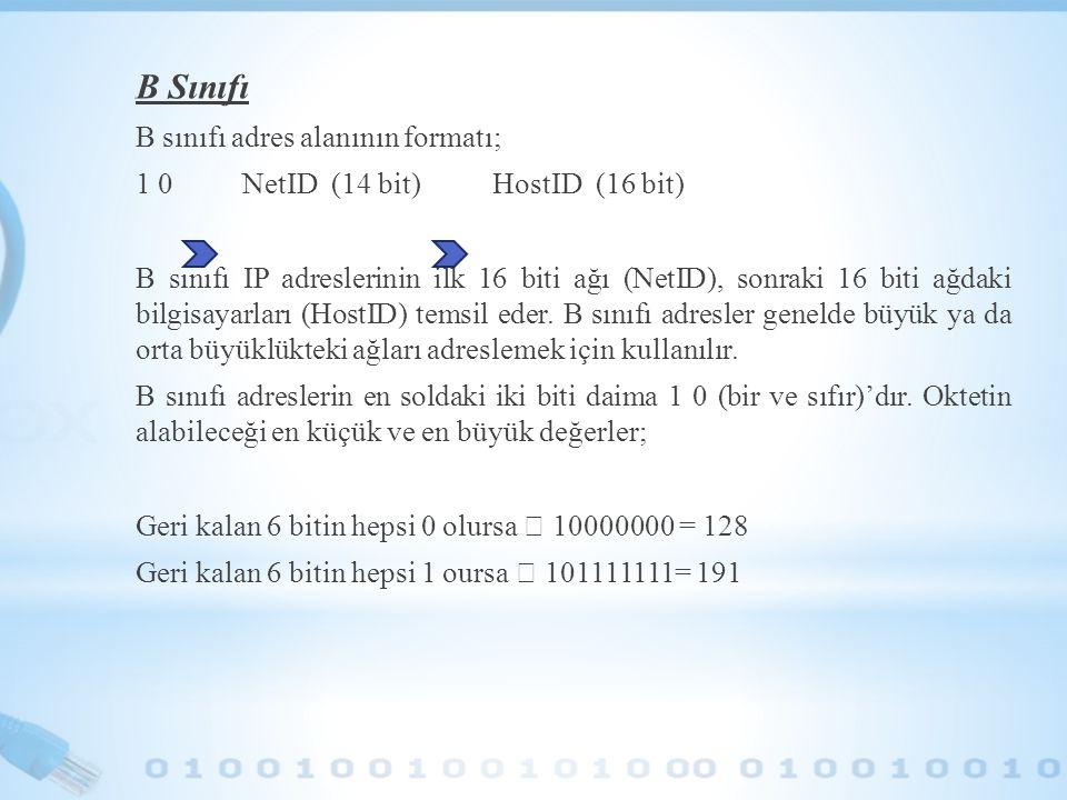 B Sınıfı B sınıfı adres alanının formatı; 1 0 NetID (14 bit) HostID (16 bit) B sınıfı IP adreslerinin ilk 16 biti ağı (NetID), sonraki 16 biti ağdaki