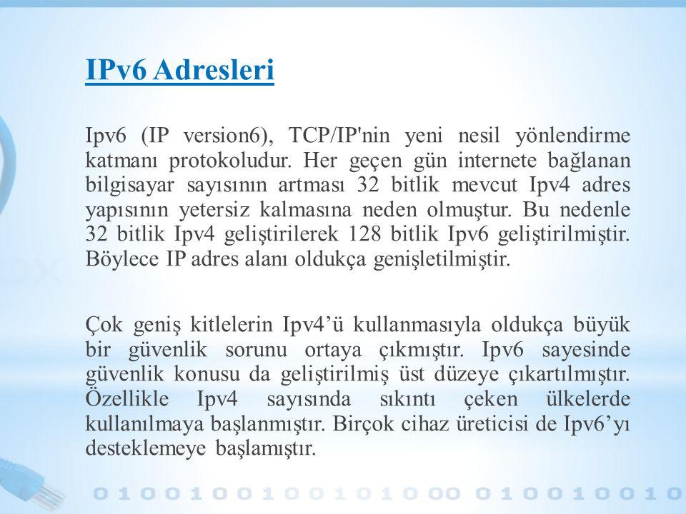 IPv6 Adresleri Ipv6 (IP version6), TCP/IP'nin yeni nesil yönlendirme katmanı protokoludur. Her geçen gün internete bağlanan bilgisayar sayısının artma