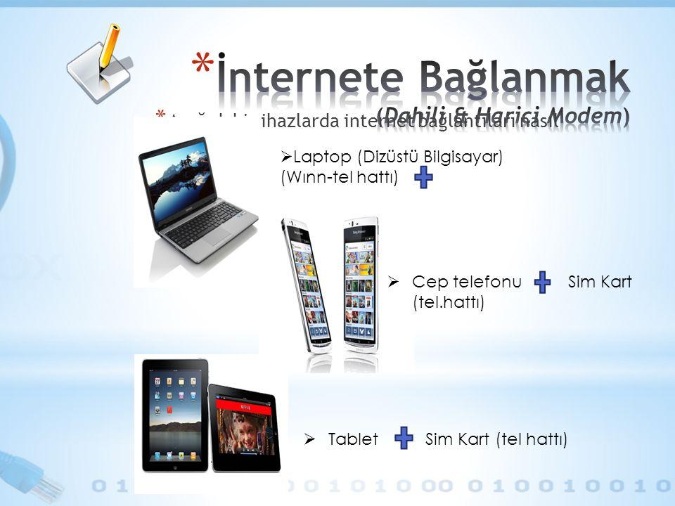 * Aşağıdaki cihazlarda internet bağlantıları nasıl olabilir ?  Laptop (Dizüstü Bilgisayar) (Wınn-tel hattı)  Tablet Sim Kart (tel hattı)  Cep telef