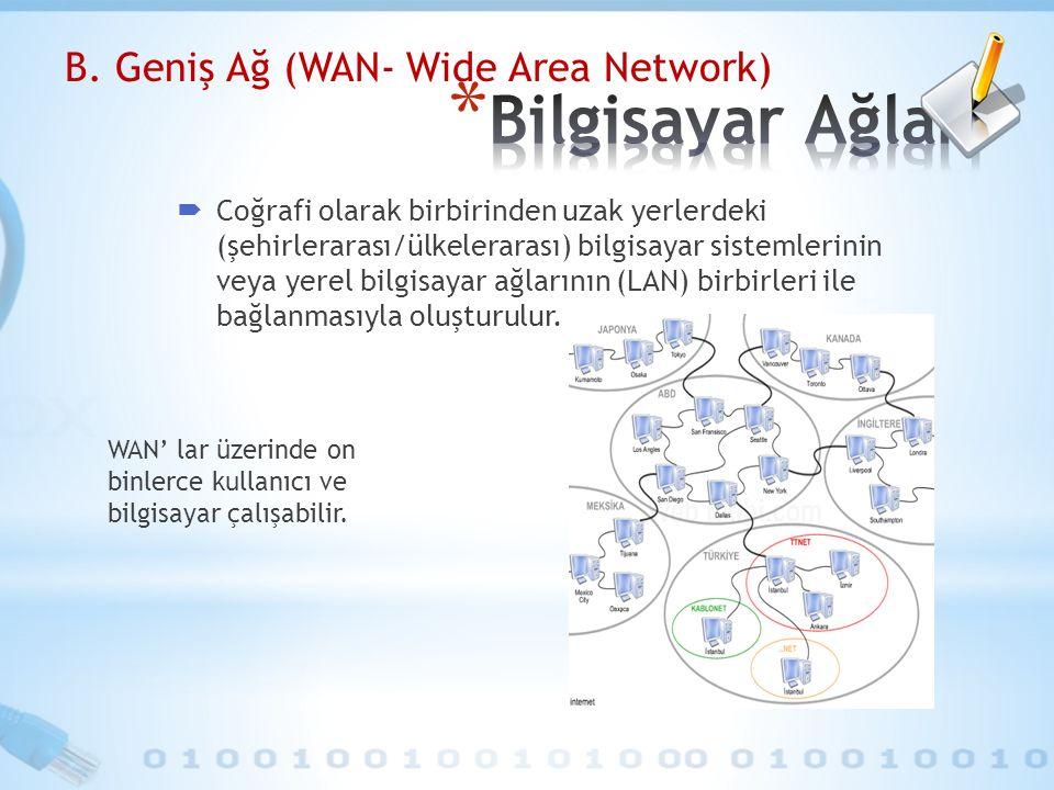 B. Geniş Ağ (WAN- Wide Area Network)  Coğrafi olarak birbirinden uzak yerlerdeki (şehirlerarası/ülkelerarası) bilgisayar sistemlerinin veya yerel bil