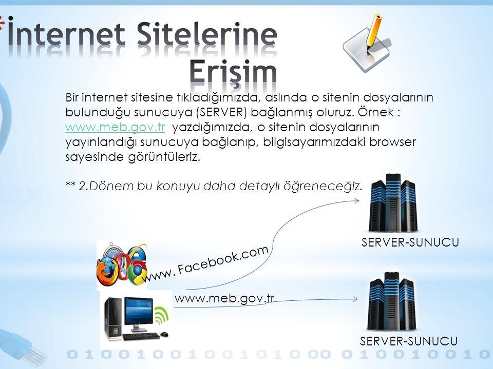 Bir internet sitesine tıkladığımızda, aslında o sitenin dosyalarının bulunduğu sunucuya (SERVER) bağlanmış oluruz. Örnek : www.meb.gov.tr yazdığımızda