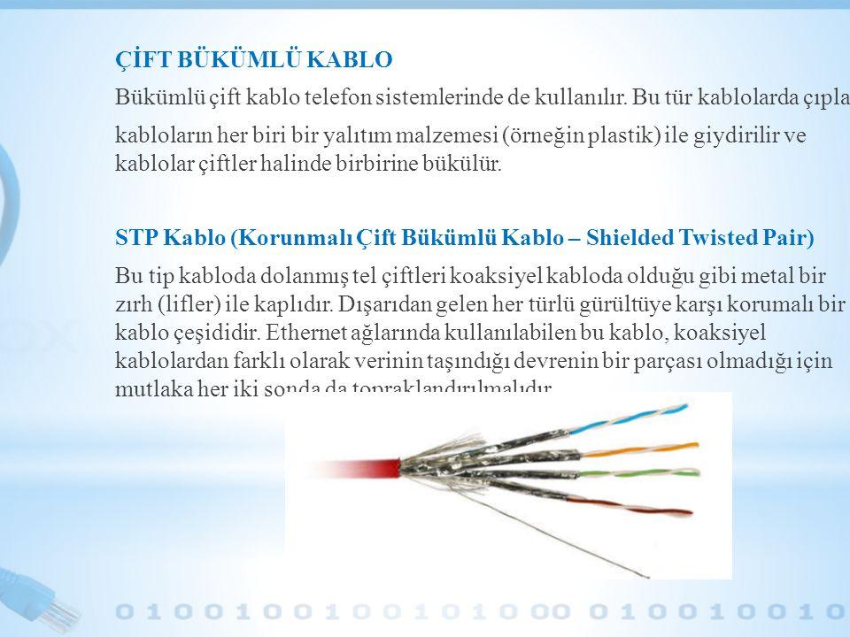 ÇİFT BÜKÜMLÜ KABLO Bükümlü çift kablo telefon sistemlerinde de kullanılır. Bu tür kablolarda çıplak kabloların her biri bir yalıtım malzemesi (örneğin