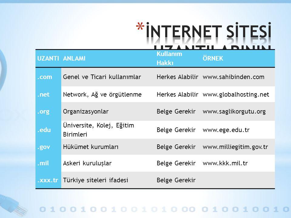 UZANTIANLAMI Kullanım Hakkı ÖRNEK.comGenel ve Ticari kullanımlarHerkes Alabilirwww.sahibinden.com.netNetwork, Ağ ve örgütlenmeHerkes Alabilirwww.globa