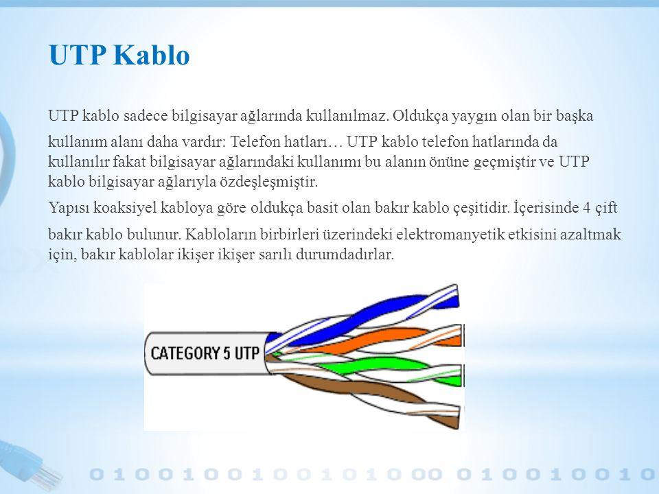 UTP Kablo UTP kablo sadece bilgisayar ağlarında kullanılmaz. Oldukça yaygın olan bir başka kullanım alanı daha vardır: Telefon hatları… UTP kablo tele