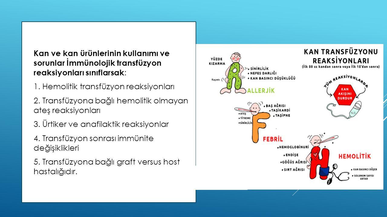  Kan ve kan ürünlerinin kullanımı ve sorunlar İmmünolojik transfüzyon reaksiyonları sınıflarsak :  1. Hemolitik transfüzyon reaksiyonları  2. Trans